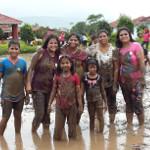 group enjoying mud bath at picnic
