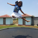 fun on the trampoline at picnic